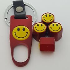 HAPPY Smiley  Wheel Valve Dust caps Alloy Spanner Keychain Boxed all models red