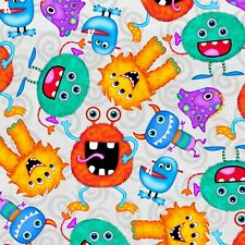 Fabric Baby Funny Monsters Comfy on Gray Flannel by the 1/4 yard