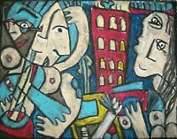 Blues City Nights Cubist Pop Art Print 8 x 10 by Artist Kimberly Helgeson Sams