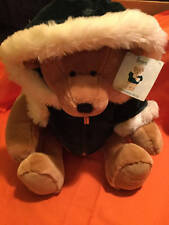 "Harrods ~Large Christmas Bear~13"" Green Velvet Jacket Faux Fur~2001 W/Tag"