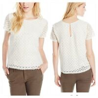 Joie Womens Medium 8 10 White Alsace Eyelet Crochet Lace Shirt Top Career Work