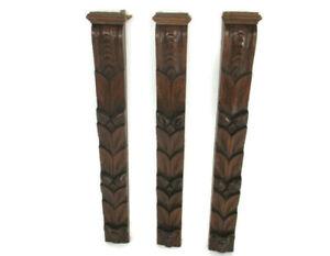 3 pieces Antique French Carved Oak Reclaimed Architectural Trim Pediment Salvage