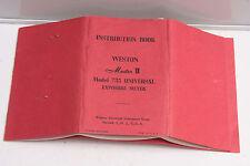 Weston Master Ii #735 Light Meter Instruction Manual Book - English - Used B103