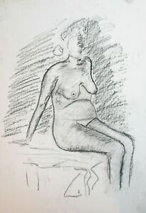 Vintage expressionist pastel painting nude woman portrait signed