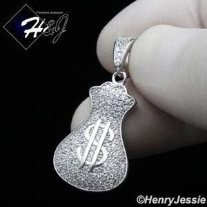 MEN WOMEN 925 STERLING SILVER ICY DIAMOND BLING MONEY BAG PENDANT*SP250