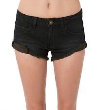 O'Neill Women Ziggy Low-Rise Black Solid Denim Shorts Sz Small (3)
