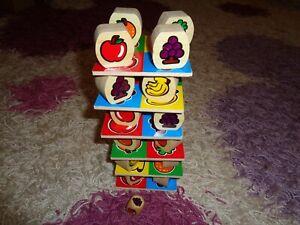 Früchte-Turm aus Holz, Wackelturm, Stapelturm, Brettspiel wie neu