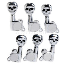 Acoustic Electric Guitar Skull Tuning Pegs Tuners Machine Heads 3x3 Chrome