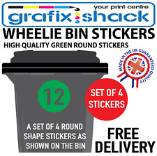 x4 WHEELIE BIN NUMBERS CUSTOM GREEN ROUND SHAPE STICKERS WITH YOUR NUMBERS