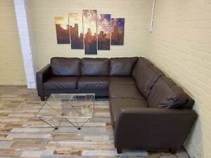 Hot Chocolate Brown Leather Corner Sofa