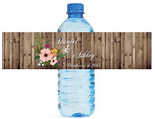 "100 Rustic Wood Flowers Wedding Bridal Birthday Party Water Bottle Labels 8""x2"""
