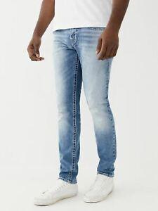 TRUE RELIGION Men's Blue Skinny Fit Denim Jeans Rocco Big T W32 BNWT RRP179