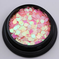 Pink Silver Nail Sequins AB Color Star Heart Round Iridescent Glitter Paillette