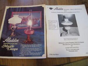 VTG ALADDIN MANTLE PAPERWORK KEROSENE ELECTRIC LAMP WICKS PARTS PRICE LIST SHADE