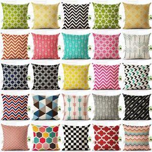 Geometric Printed Sofa Cushion Cover Home Decor Houseware Linen Throw Pillowcase