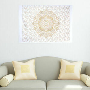 Mandala Flower Gold Poster Tapestry Small Beautiful Wall Hanging Textile Indian