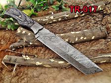 "14"" Tracker Knife Full Tang Damascus Steel Tanto balde, 2 tone Wood, Cow sheath"