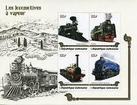 Gabon 2019 MNH Steam Engines Locomotives 4v M/S Transport Trains Rail Stamps