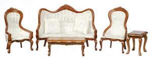 Dolls House Walnut & White Victorian Living Room Furniture Set 1:12 Scale