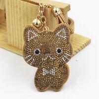 Women Rhinestone Cats Tassel Keychain Key Ring Pendant Holder Bag Decoration
