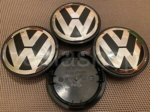 4x 3B7601171 VW Volkswagen 65mm Outer Alloy Wheel Centre Caps Used Golf