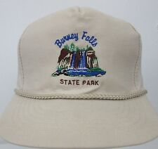 Vtg Burney Falls State Park CA Beige Snapback Hat Embroidered Waterfall Logo Cap