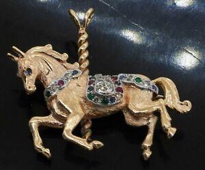 Heavy 14K gold .28CTW diamond ruby emerald sapphire carousel horse charm/pendant