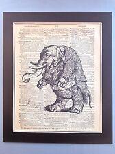 Antico Vintage Dizionario libro pagina ART SMART Elefante giocando a violino/viola