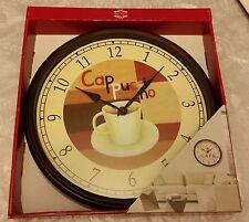 Rare Plastic Wall Clock, Kitchen Art Decor, COFFEE CAPUCCINO, black frame