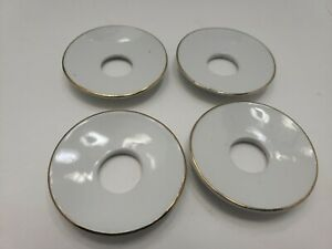 4 white Gold Trimmed Ceramic Glass Candle Rings Wax Catchers Scalloped Glass