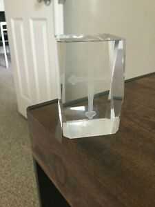 Clear Crystal Cross Paperweight