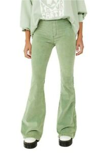 Free People pull On Cord Flares Bell Bottom Trousers Green  Size 26 8/10  new