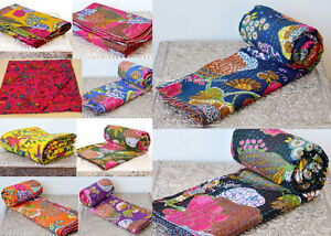 New Indian Handmade-Kantha Blanket Quilt Throw Queen Vintage Cotton Bed-Cover