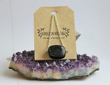 Shungite necklace with a tumbled stone on a chain EMF healing chakra CC07
