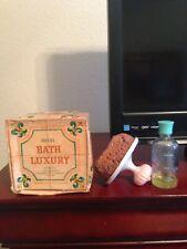Avon Bath Luxuries Set - Handled Sponge & Skin So Soft bath oil bottle - 1966