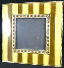 Bronze Square Crystal Jeweled Glitz 3 x 3 Metal Standing Picture Frame 3x3