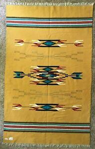 "Vtg Chimayo Ortega Weaving LARGE 85"" x 53"" Blanket Native Hispanic Yellow"