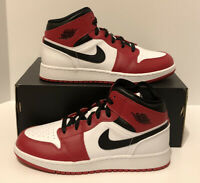 "Nike Air Jordan 1 Mid ""Chicago"" White Heel Gym Red 554724-173 GS Size 4.5-5.5"