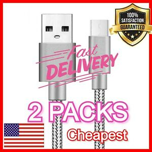 2PCs 6ft Samsung USB C Cable Type C Fast Charger For Galaxy S8 S9 S10 Plus Note9