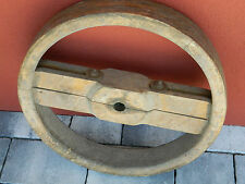ROUE ancien en BOIS holz RAD old wood wheel MACHINE agriculture POULIE pulley