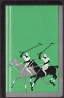 Playing Cards Single Card Old Vintage Art Deco * POLO GAME PLAYERS + HORSES * A