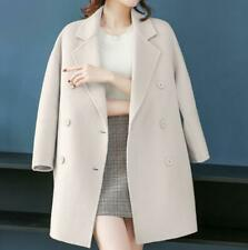 Womens Cashmere Wool Lapel Loose Double-breasted Coat Warm Overcoat Parka Jacket