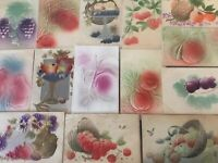 Lot of 16 Fruit~Fruits~Heavy Embossed Airbrushed~Greetings Postcards-s-154