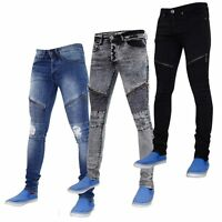 New Mens Loyality & Faith Skinny Fit Bikers Look Jeans Stretch Denim Pants