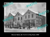 OLD LARGE HISTORIC PHOTO OF DAWSON YUKON, THE T&E Co DOG SLED TEAM c1900