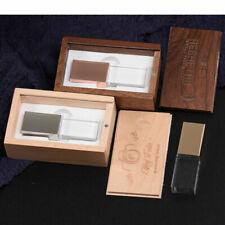 Square metal glass + wood box can custom logo usb 3.0 pen drive can custom logo