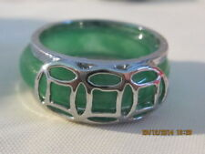 Ring - Green Jade Band with silver plated design - Size 7