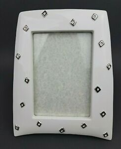 Vtg Porcelain Off White HB Group Picture Frame Raised Silver Tone Shapes 5x7 Pic