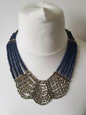 STATEMENT blue & gold Collar Necklace Bib Beaded Boho Ethnic egyptian