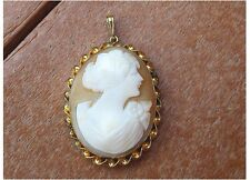 Vtg Hand-Carved Shell Cameo Pendant, set in Gold Fill